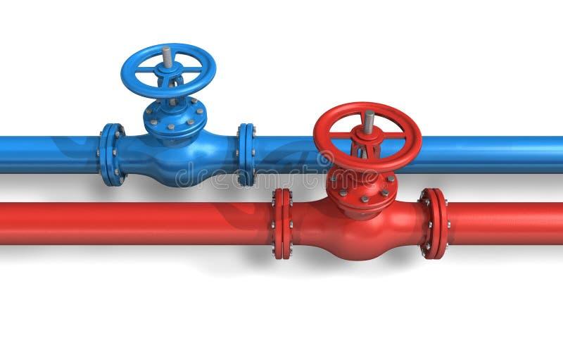 Rote und blaue Rohrleitungen lizenzfreie abbildung