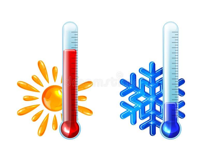 Rote und blaue Thermometer stock abbildung