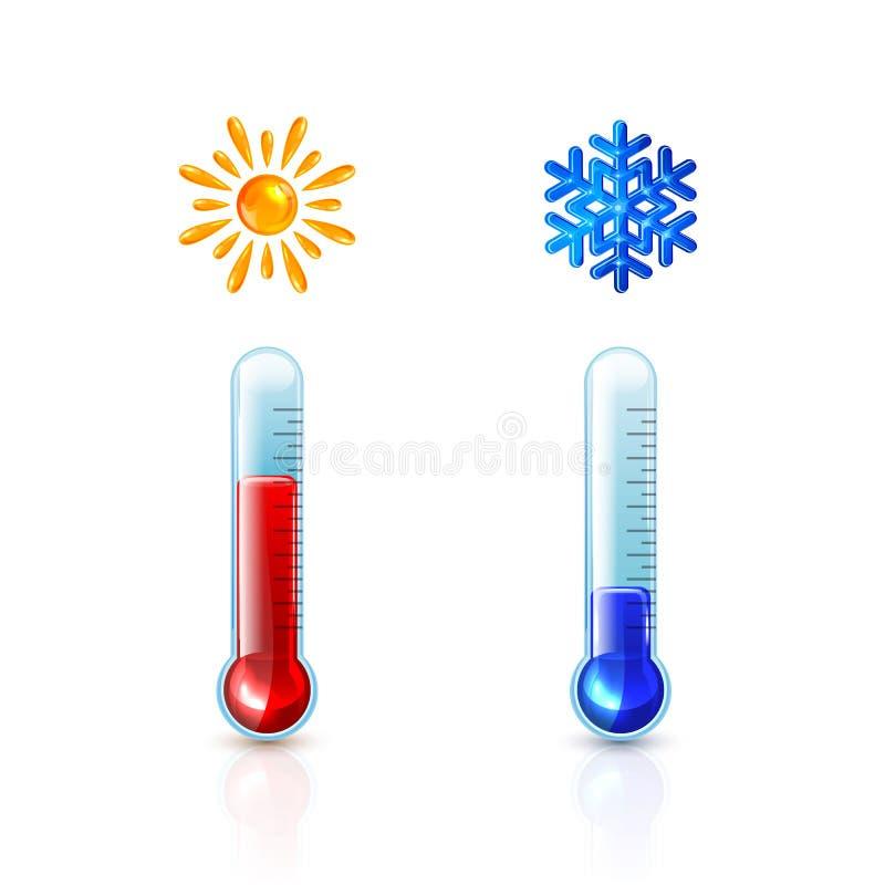 Rote und blaue Thermometer mit Sun und Schneeflocke lizenzfreie abbildung