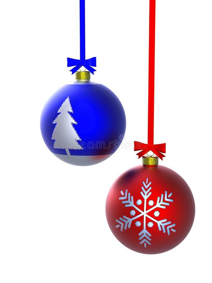 Rote und blaue Weihnachtskugel stock abbildung