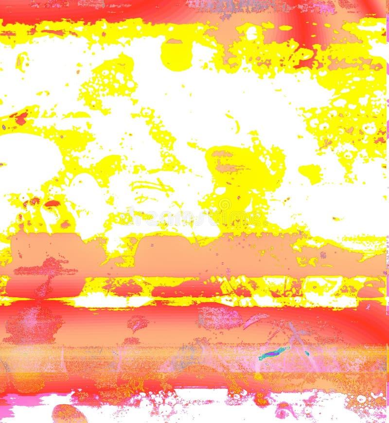 Rote und gelbe bunte Stellen der fantastischen Form auf einem weißen Hintergrund stockbild