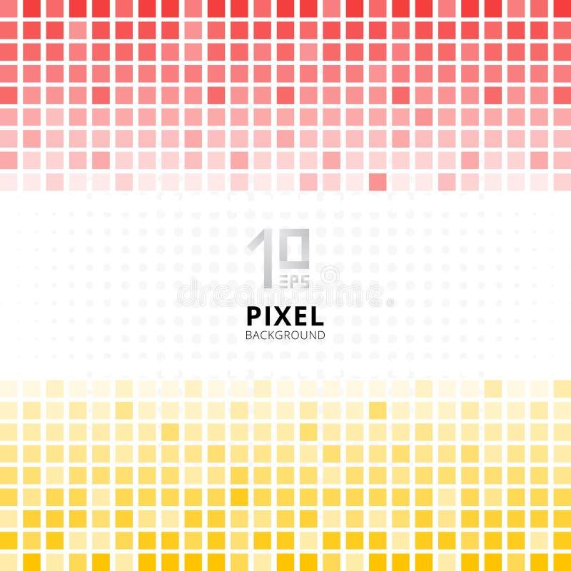 Rote und gelbe Steigungsfarbe des abstrakten Pixelmosaiks auf weißem BAC vektor abbildung