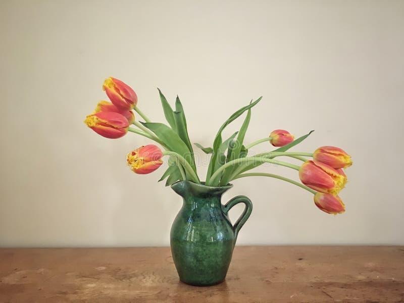 Rote und gelbe Tulpen in einem grünen Vase auf einer Holzoberfläche mit neutralem Hintergrund stockfotografie