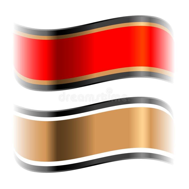 Rote und goldene glatte Farbbänder lizenzfreie abbildung