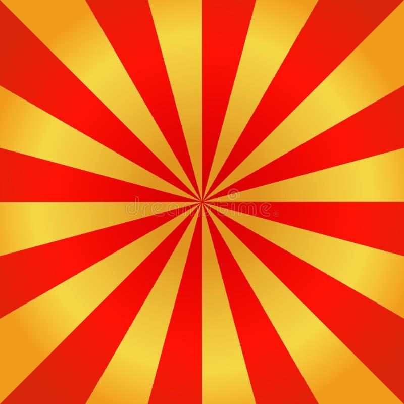 Rote und goldene Strahlen des Vektorkarnevalshintergrundes Themenorientiertes Sonnenlicht des Zirkusses Retro- Vektorhintergrund  vektor abbildung
