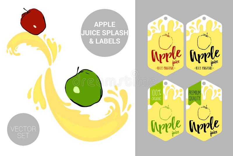 Rote und grüne Äpfel auf Saft spritzt Organische Fruchtaufkleberumbauten und Apfelsafttext vektor abbildung