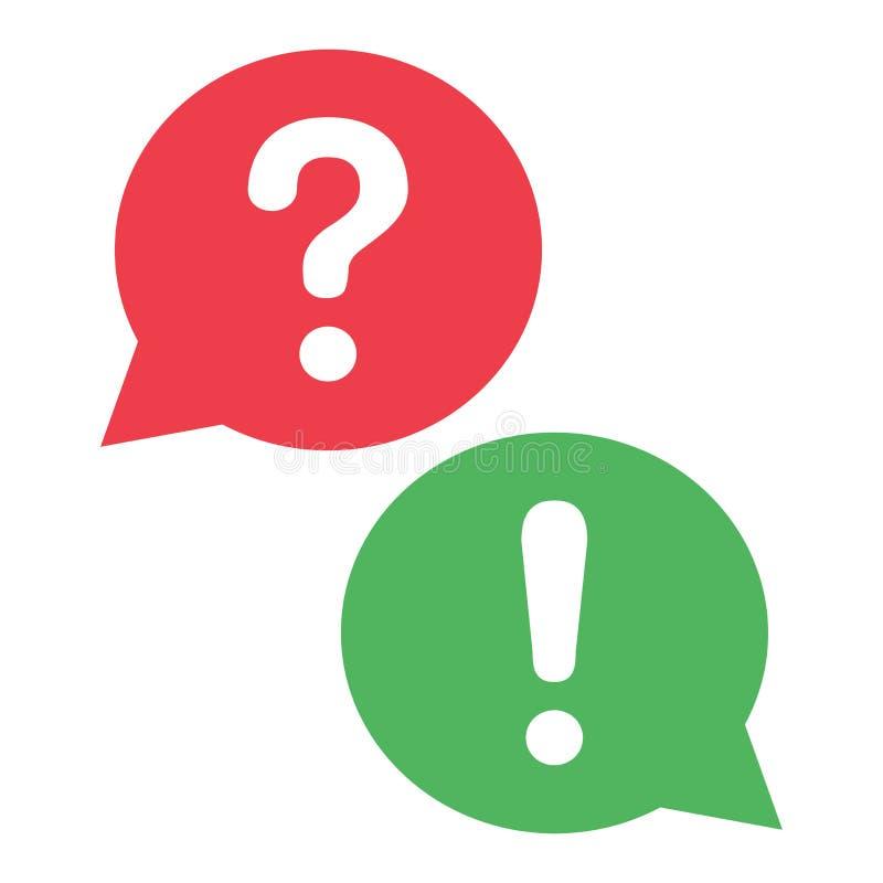 Rote und grüne Dialogfelder Fragezeichen und Ausrufezeichen Vektor stock abbildung