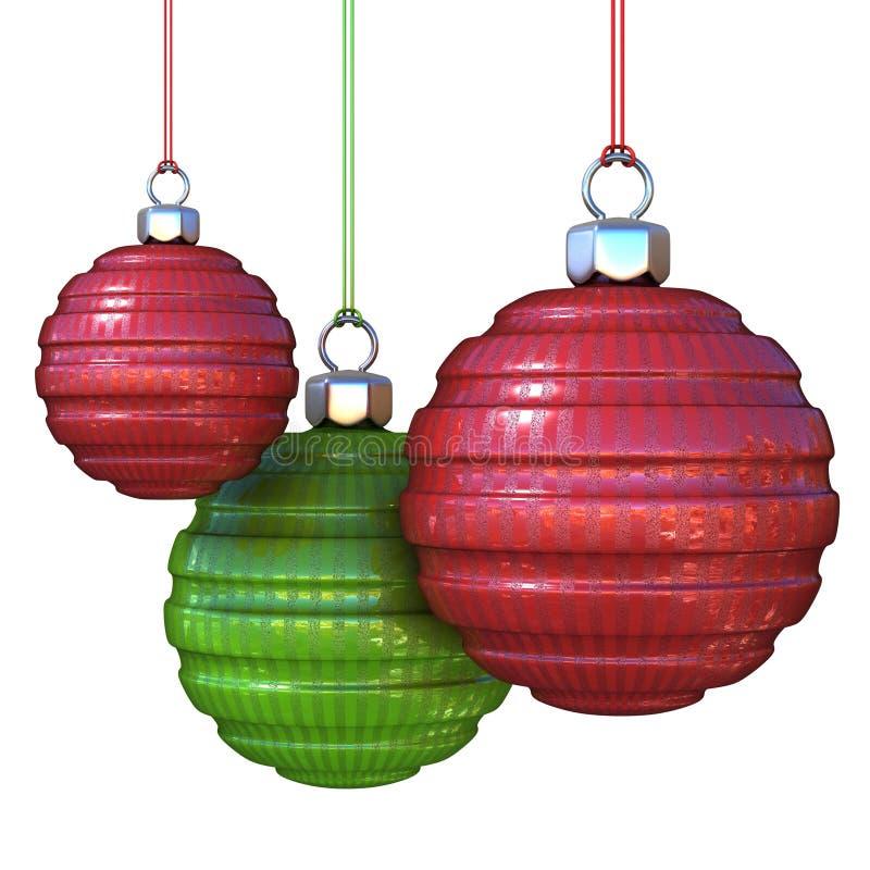 Rote und grüne gestreifte, hängende Weihnachtsbälle lizenzfreie abbildung