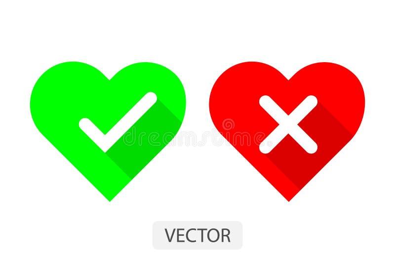 Rote und grüne Herzen mit ja und keiner Ikonenvektorillustration der Häkchen flachen entwerfen für Liebeskonzept lizenzfreie abbildung