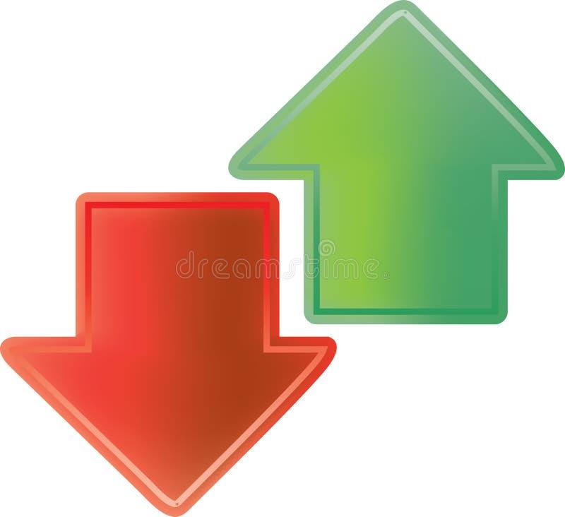 Rote und grüne Pfeile stock abbildung