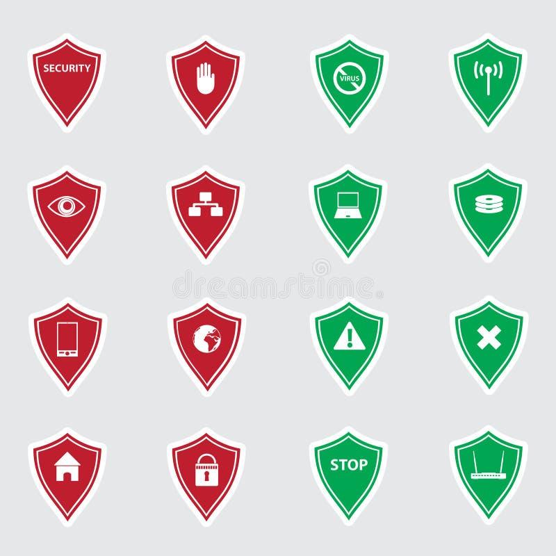 Rote und grüne Sicherheit schirmt Aufkleber eps10 ab vektor abbildung