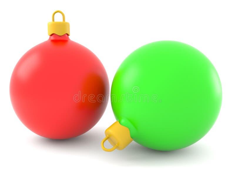 Rote und grüne Weihnachtskugeln lizenzfreie abbildung