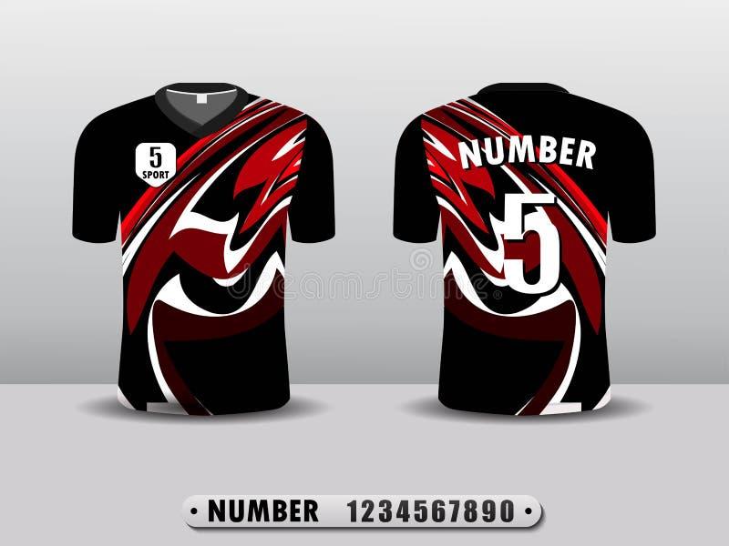 Rote und hintere Fu?ballvereint-shirt Sport-Entwurfsschablone Angespornt durch die Zusammenfassung Lokalisiert auf einem wei?en H stock abbildung