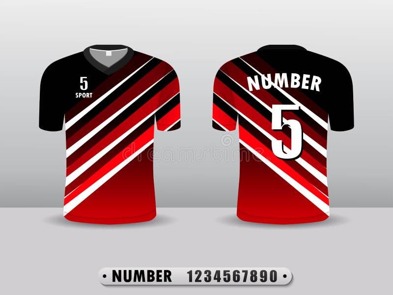 Rote und hintere Fu?ballvereint-shirt Sport-Entwurfsschablone Angespornt durch die Zusammenfassung Lokalisiert auf einem wei?en H vektor abbildung