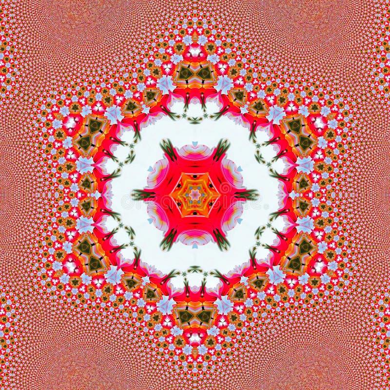 Rote und mehrfache farbige Blumenillustration, Spiegel Effekt angewandt stockbilder