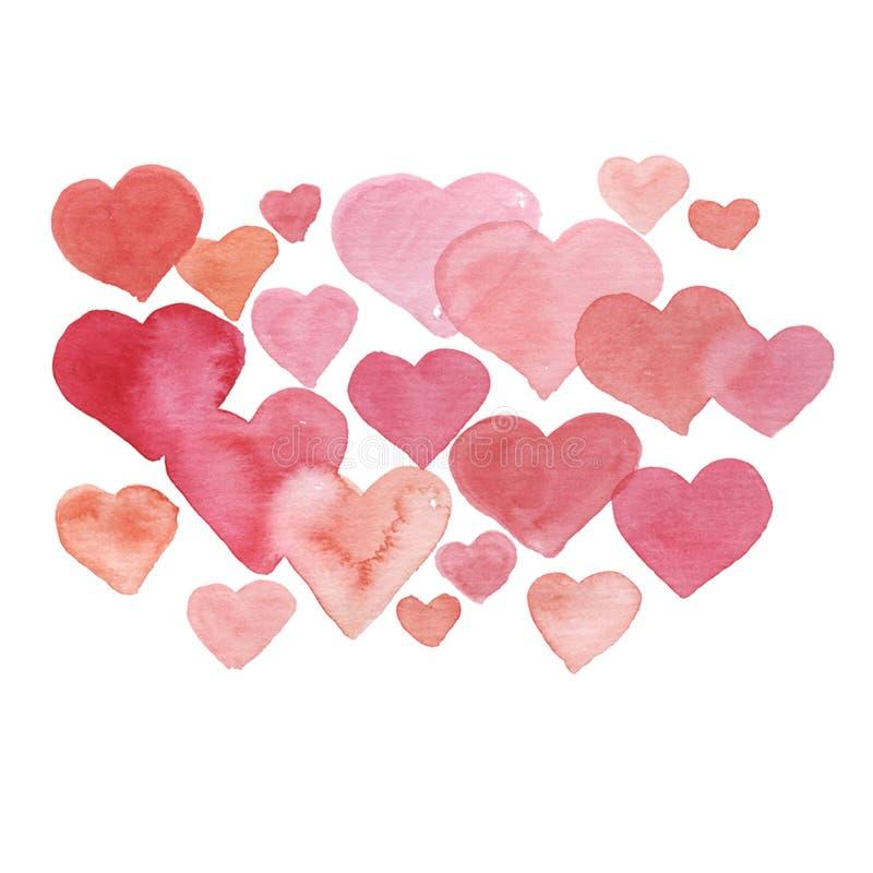Rote und rosa Aquarellherzen für Valentinstag vektor abbildung