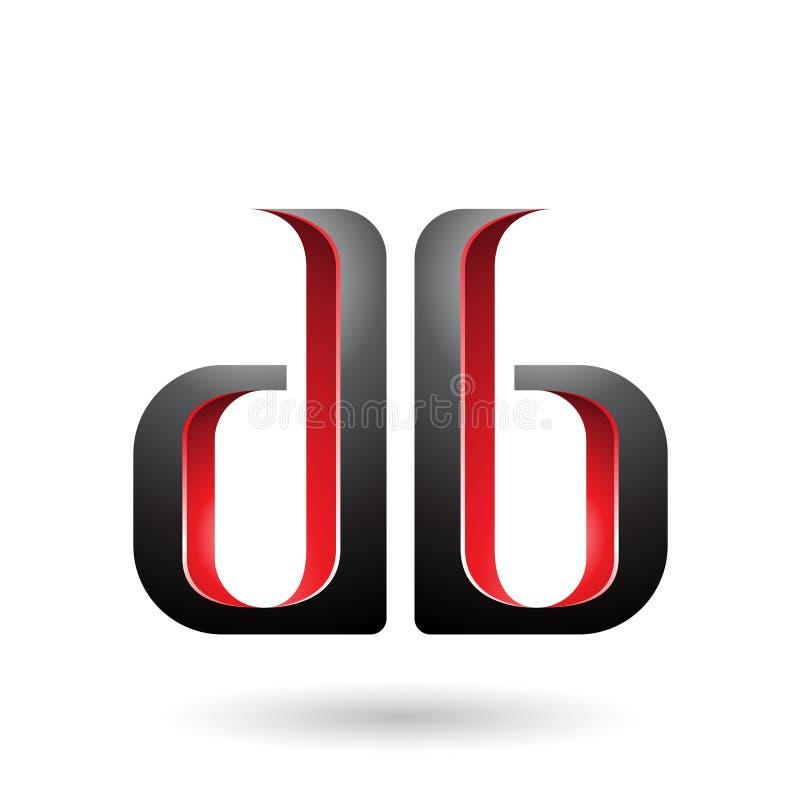 Rote und schwarze doppelte mit Seiten versehene d- und b-Buchstaben lokalisiert auf einem weißen Hintergrund vektor abbildung