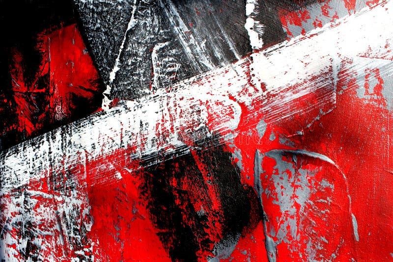 Rote und schwarze Farben auf Segeltuch Landschaft mit Fluss und Wald Hintergrund der abstrakten Kunst Ölgemälde auf Segeltuch Far stock abbildung