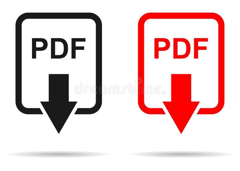 Rote und schwarze Farbepdf-Dateidownloadikone lizenzfreie abbildung