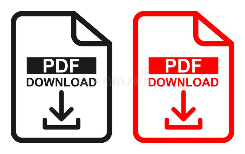 Rote und schwarze Farbepdf-Dateidownloadikone vektor abbildung