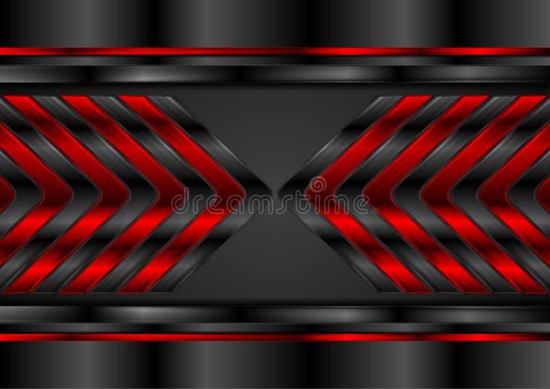 Rote und schwarze glatte Pfeile extrahieren Technologiehintergrund stock abbildung