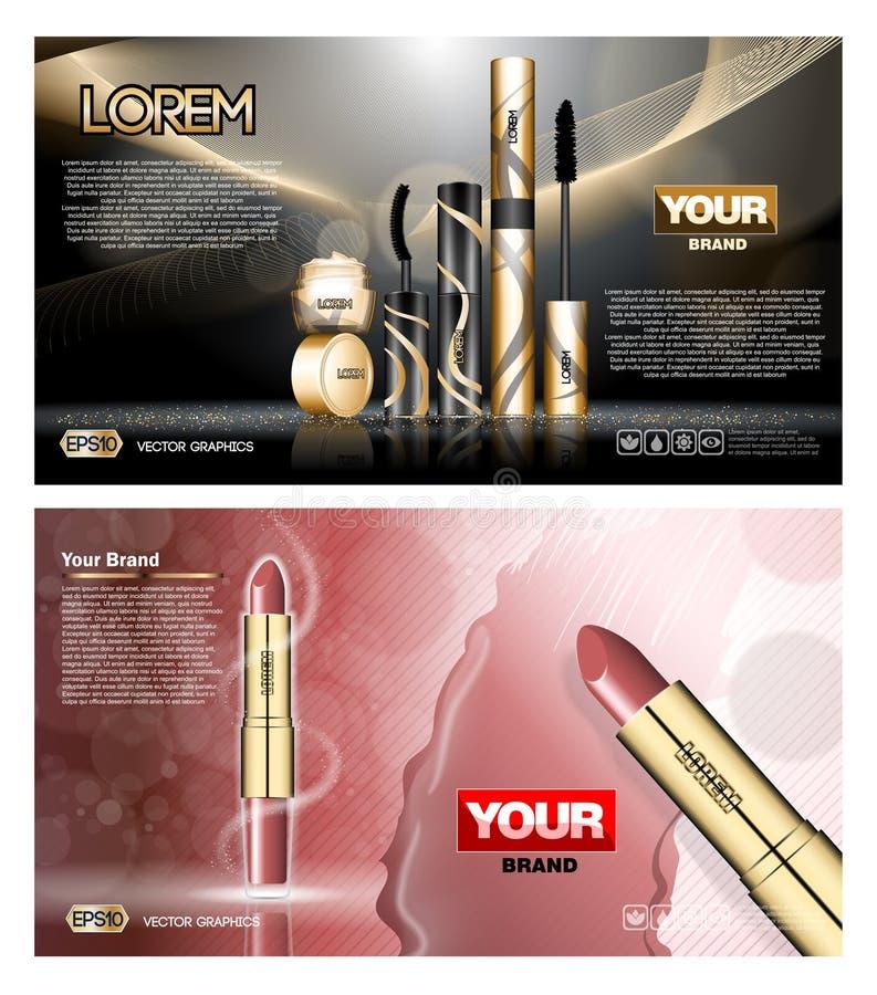 Rote und schwarze Hautpflege Digital-Vektors, Lippenstift lizenzfreie abbildung