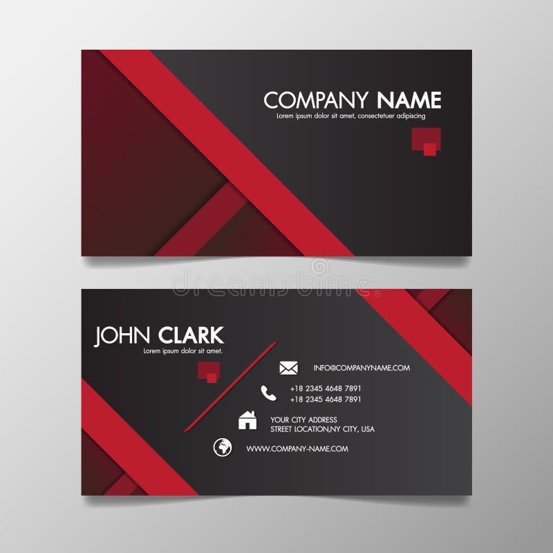 Rote und schwarze moderne kreative Geschäftsschablone kopiert und Namenkarte, minimales Ikonenkonzept des horizontalen einfachen  stock abbildung