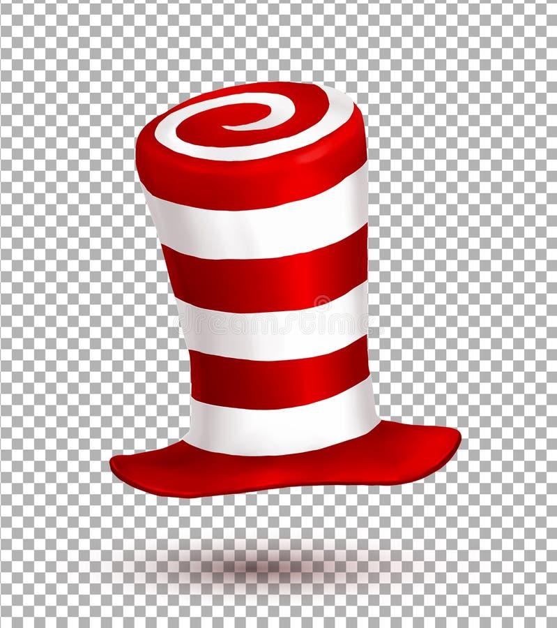 Rote und weiße Farben streift realistischen Vektorkarnevalshut stock abbildung