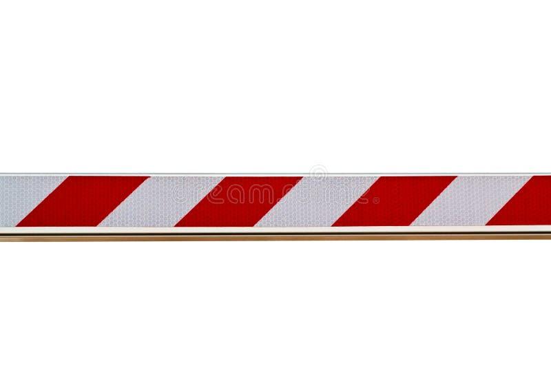 Rote und weiße gestreifte Sperre lokalisiert auf weißem Hintergrund lizenzfreies stockfoto
