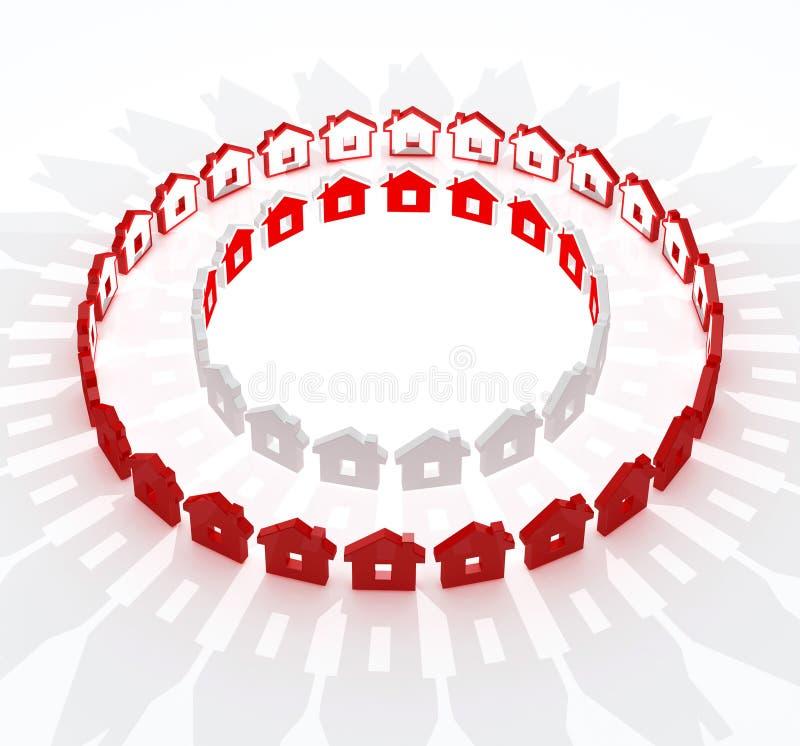 Rote und weiße Häuser in der Kreismetapher lizenzfreie abbildung