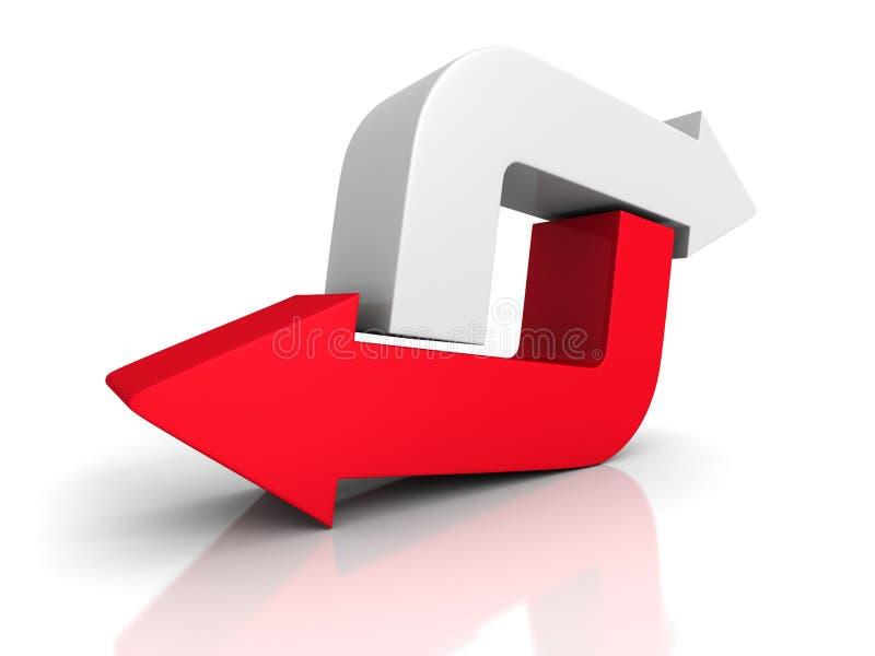 Rote und weiße Pfeile, die in entgegengesetzte Richtungen zeigen stockfotos