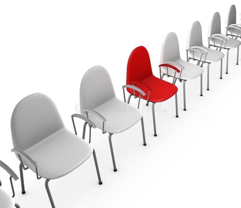 Rote und weiße Stühle lizenzfreie abbildung