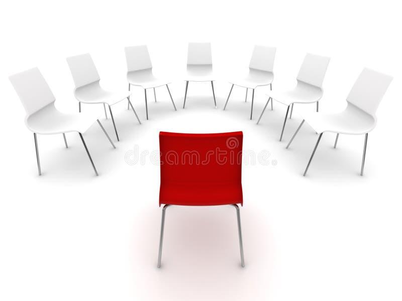 Rote und weiße Stühle, die in einem Kreis stehen lizenzfreie abbildung