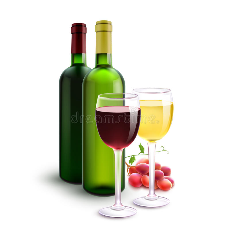 Rote und weiße Weine vektor abbildung