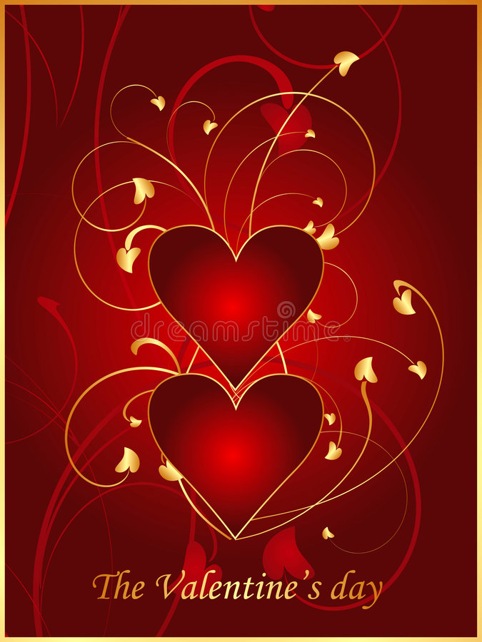 Rote Valentinsgrußpostkarte 1 stock abbildung