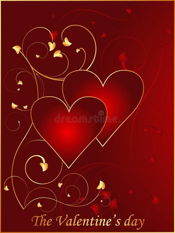 Rote Valentinsgrußpostkarte 2 stock abbildung