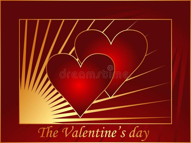 Rote Valentinsgrußpostkarte 3 stock abbildung