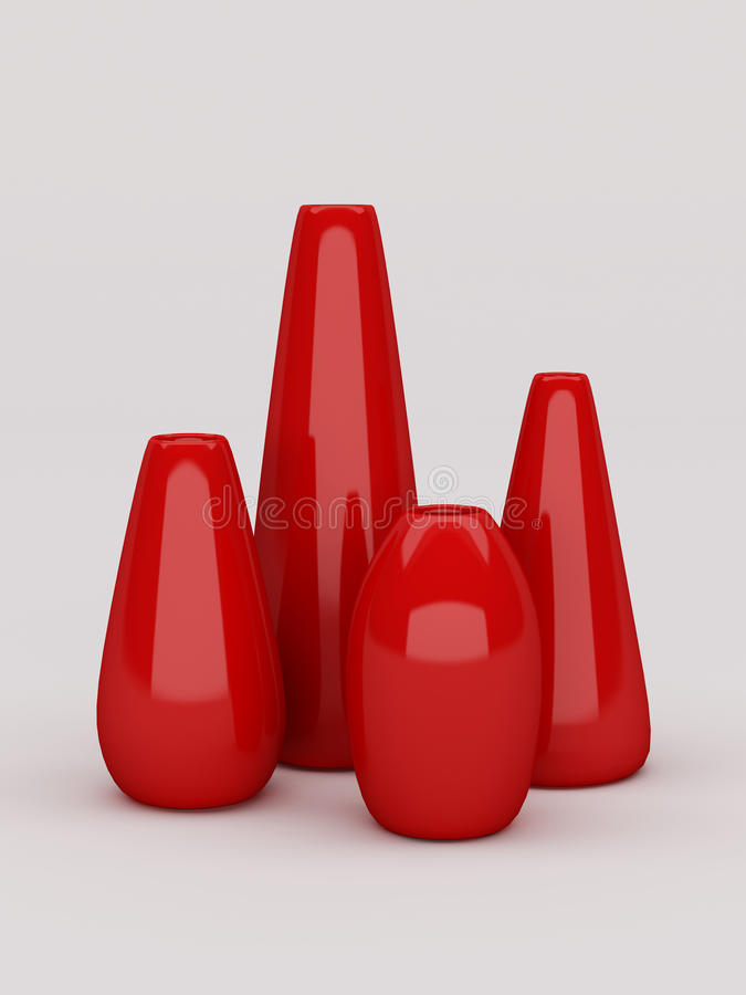Rote Vasensammlung stockfotografie