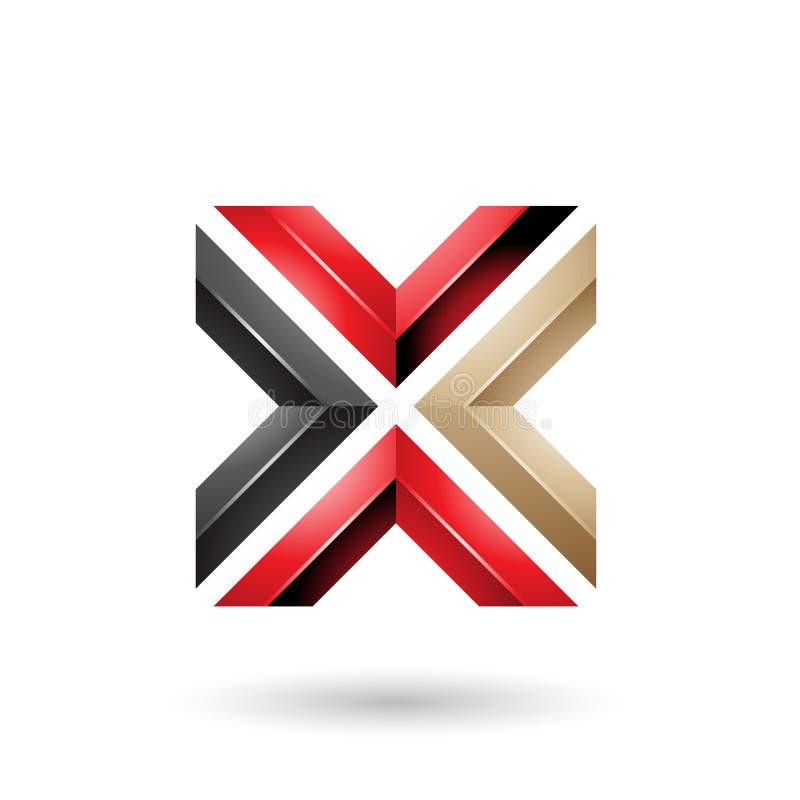 Rote Vektor-Illustration des schwarzes und beige Quadrat-geformte Buchstabe-X stock abbildung