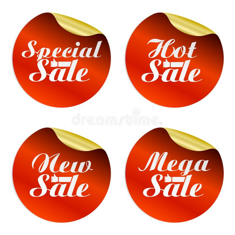 Rote Verkaufsaufkleber stellten speziell ein, heiß, neu, Mega- mit Handbester Wahl lizenzfreie abbildung