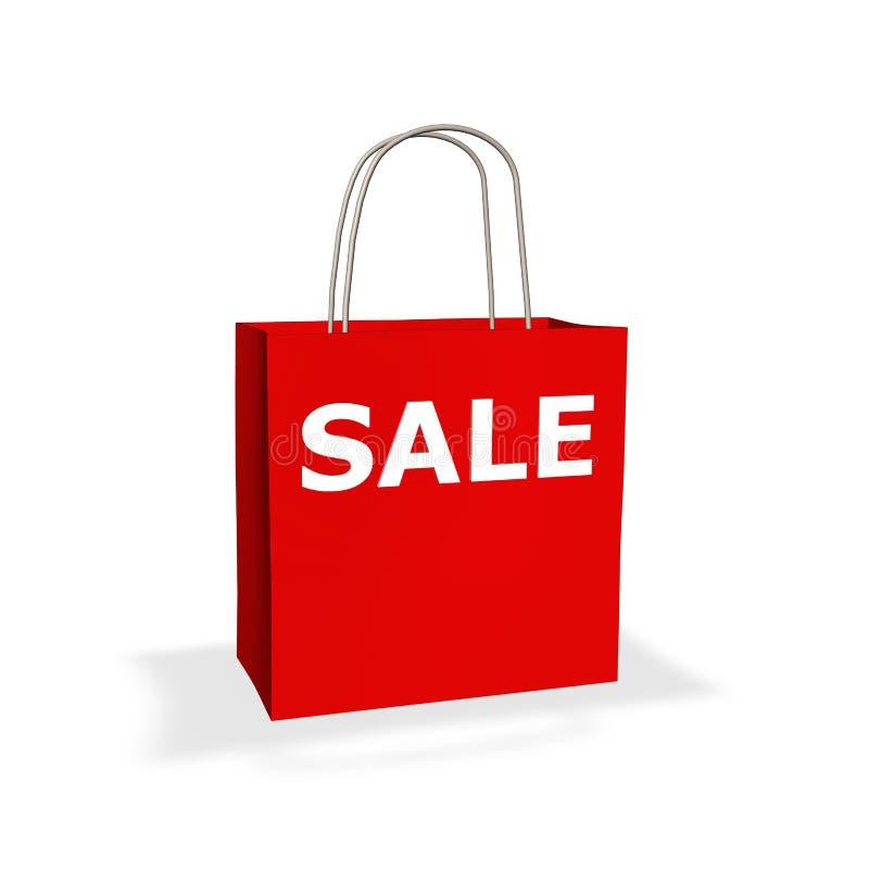 Rote Verkaufseinkaufstasche stockfotos
