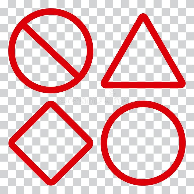 Rote Verkehrsschilder auf transparentem Hintergrund Vektor stock abbildung