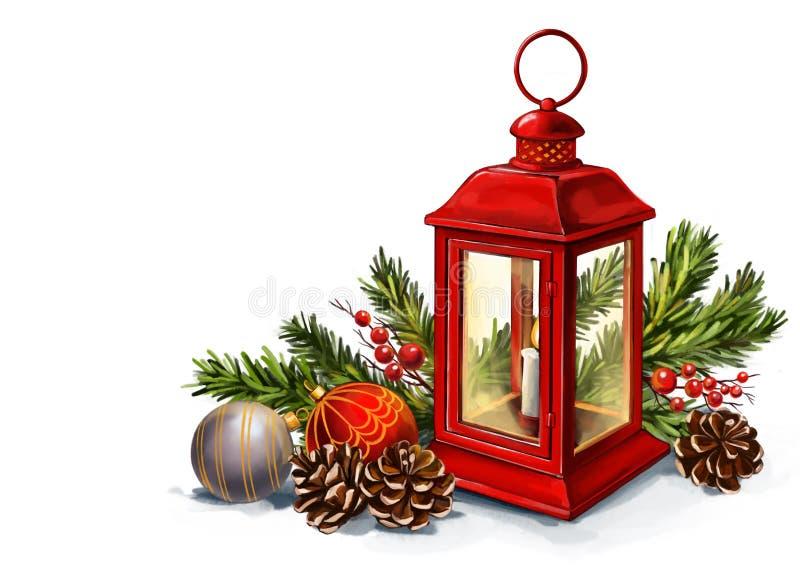 Rote Vintage-Laterne mit brennender Kerze mit Weihnachtsspielzeug, dekorative Weihnachtsdekoration, Kunstillustrierung mit MalMal lizenzfreie abbildung