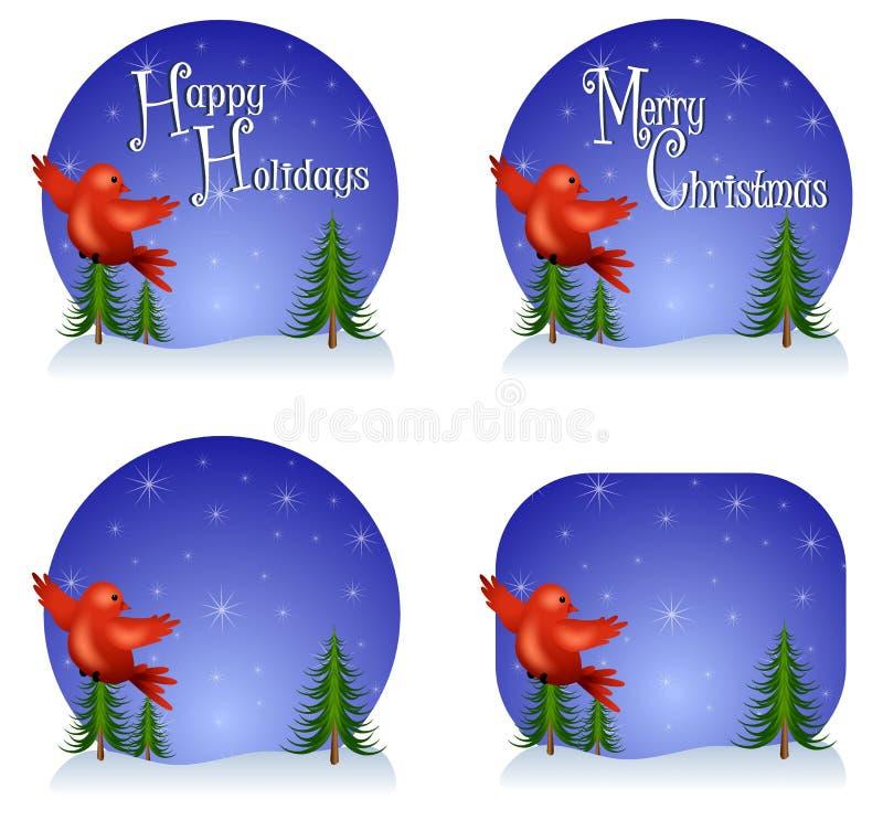 Rote Vogel-Weihnachtshintergründe lizenzfreie abbildung