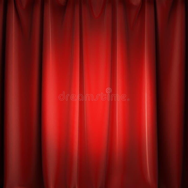 Rote Vorhänge des Stadiums mit Scheinwerfer lizenzfreies stockbild