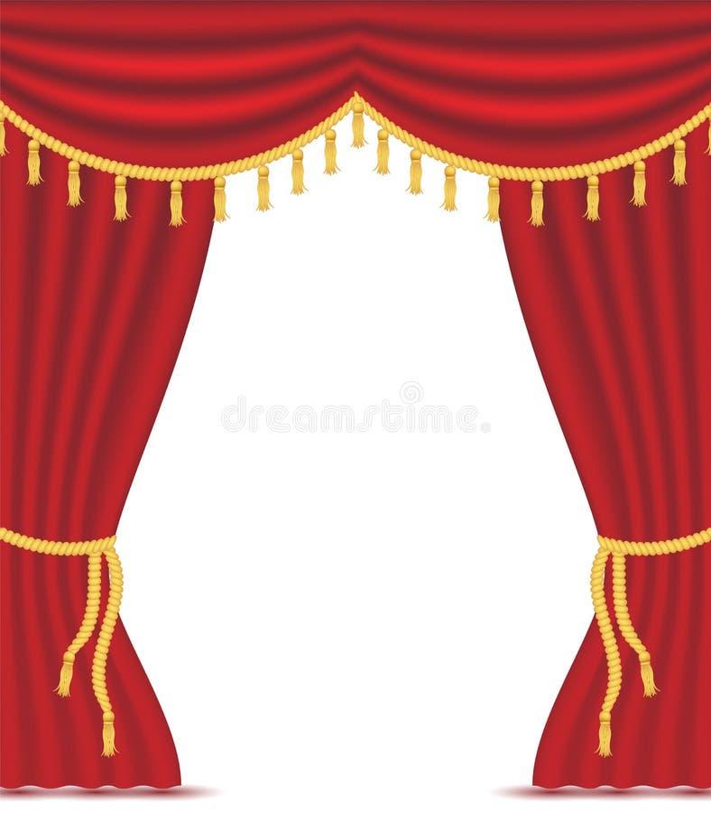 Rote Vorhänge mit Drapierung lizenzfreie abbildung