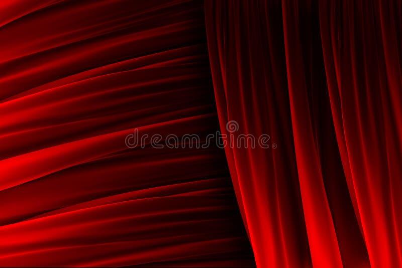 Rote Vorhangbeschaffenheit mit Lichteffekten stock abbildung