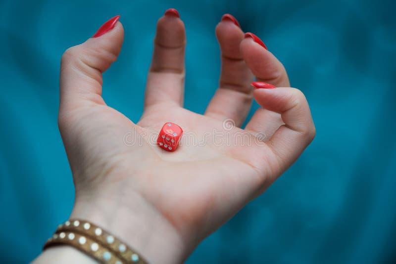 Rote Würfel in woman's Hand stockfotografie