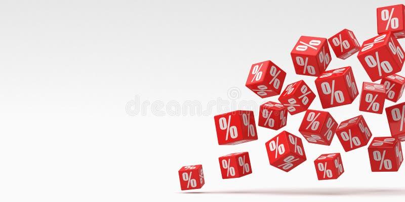Rote Würfelprozente, die auf einen weißen Hintergrund fallen Wiedergabe 3d Abbildung f?r das Bekanntmachen lizenzfreie abbildung