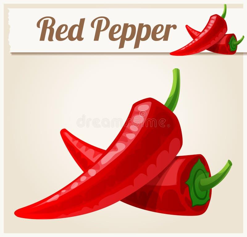 Rote würzige Pfeffer Ausführliche Vektor-Ikone lizenzfreie abbildung